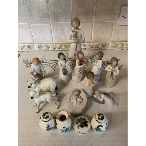 45 - 10 'Willow Tree' figures, 4 miniature Mason's Chartreuse pieces and 2 Beswick sheep (6)