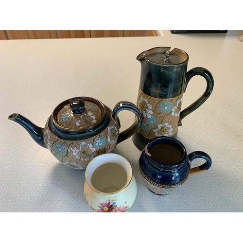 47 - Doulton 'Slater' 3-piece tea service (chip to cream jug spout) and 3