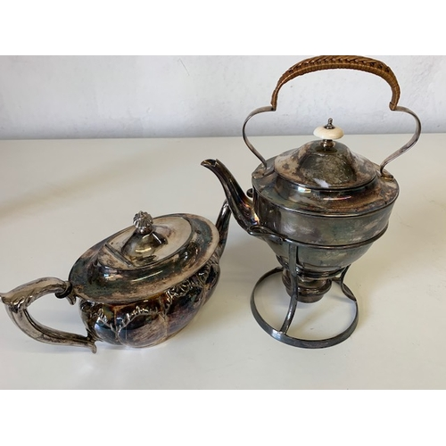 210 - Silver plate spirit kettle and ornate teapot