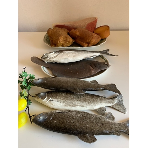 468 - 2 plates of plastic display food - 5 fish, 2 cooked chickens, pork pie, ham & 3 pieces liver