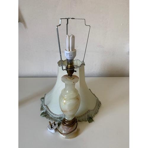 79 - Onyx table lamp and shade, onyx base 12