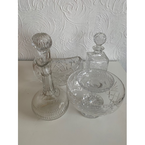 64 - 2 cut glass decanters, 2 cut glass bowls and a sundae dish (5)