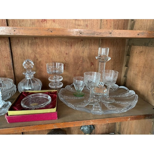 72 - Shelf of cut glass and other glassware