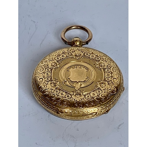 195 - 18ct gold ladies pocket watch, the reverse with attractive pattern, total watch weight 40.74gms