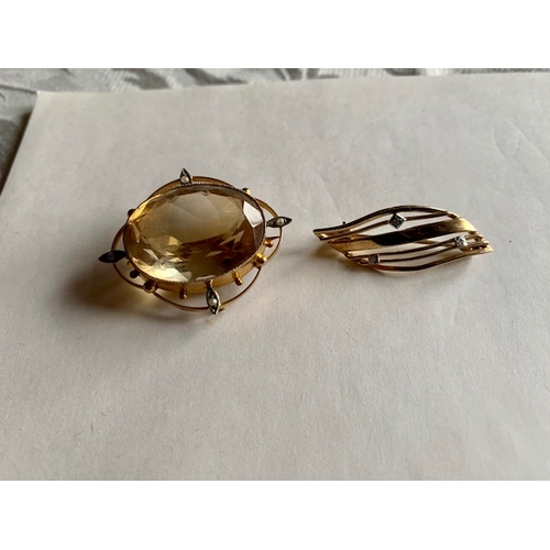 170 - Two 9ct gold brooches, total weight including stones 12.5gms