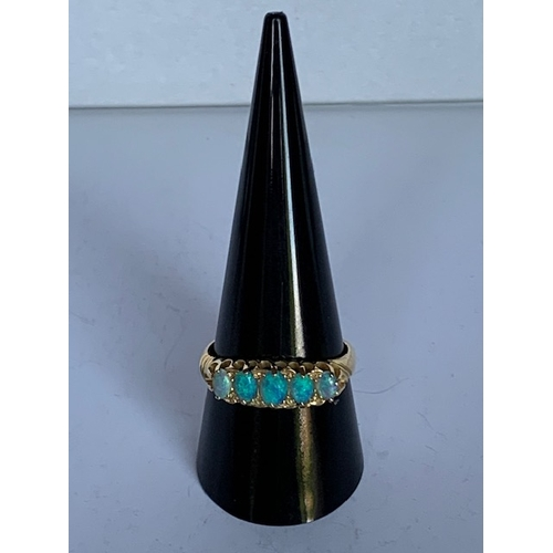 173 - 18ct gold 5 iridescent opalesque ring, 3.7gm, ring size T