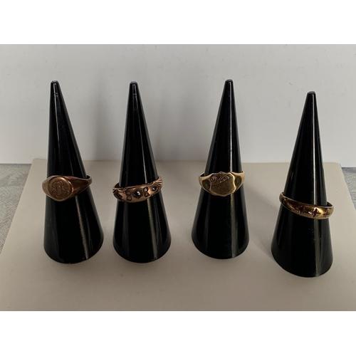 177 - 9ct rose gold wedding ring size L, 9ct rose gold 7 stone ring size M/N, 9ct gold wedding ring size K...