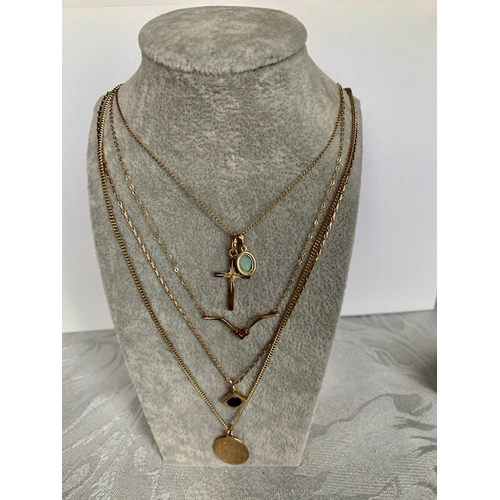 182 - Five 9ct gold necklaces and 5 9ct gold pendants, 11.6gms