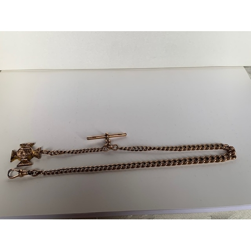 183 - 9ct rose gold watch chain with 9ct gold T bar, 36cms with attached yellow metal St George cross lock...