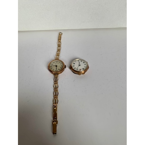 189 - Two 9ct gold ladies watches (A/F), one with rolled gold strap