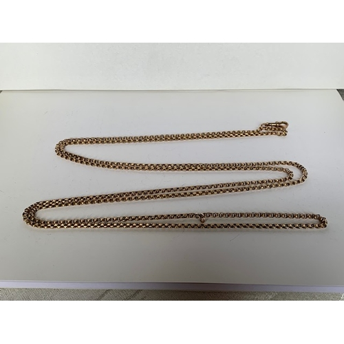 191 - 9ct gold necklace, 140cms with clasp for double chain wear 31.9gms