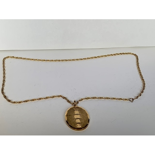 193 - 9ct gold necklace with 9ct gold heavy pendant, necklace 60cms, 44.7gms