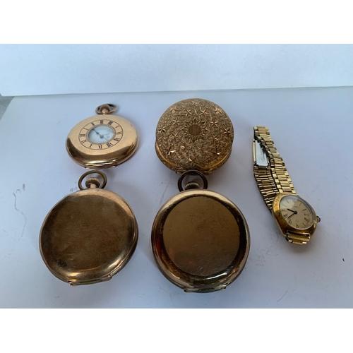 199 - Gold plated Half Hunter pocket watch, 3 gold plated Hunter pocket watches, wrist watch (all watches ...
