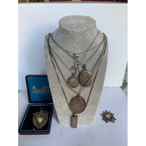 201 - 5 silver chains and pendants, Fattorini & Sons silver medallion in original box and silver star, sil...