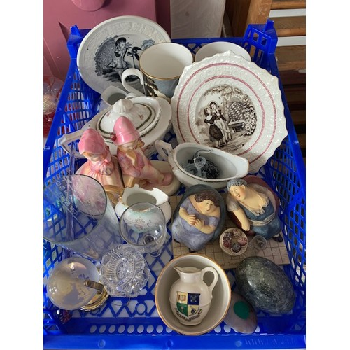 74 - Tray of miscellaneous china including 3 souvenir pieces and 2 real people collection