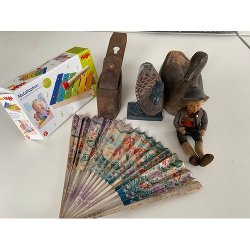 241 - Decoy duck, duck, old wooden headed boy, fan, old plane (A/F), Haba toy and 3 old small toys