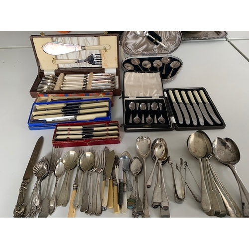 242 - Miscellaneous silver plate and EPNS cutlery including boxed 14-piece fish cutlery and servers