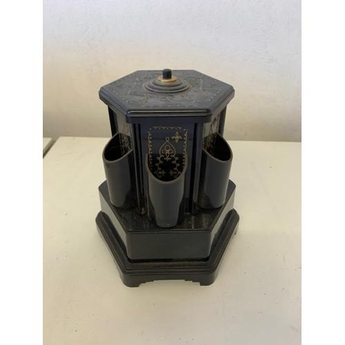 221 - Retro decorative black plastic smokers companion wind up automaton 'The Blue Danube', ht 7.5