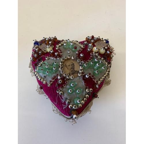 222 - Edwardian heart shaped sampler sweet heart pin cushion