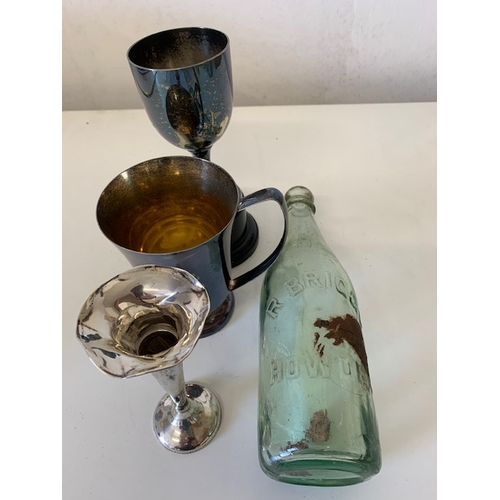 223 - Silver spill vase, EPNS tankard and trophy,