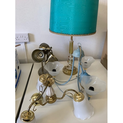 225 - 3 light fittings and onyx and brass effect table lamp