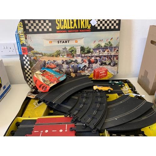 246 - Qty Scalextric track, 3 cars, transformer etc