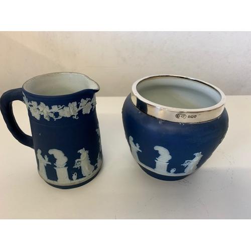 252 - Victorian Wedgwood Jasperware of cream jug and silver mounted sugar bowl (2)