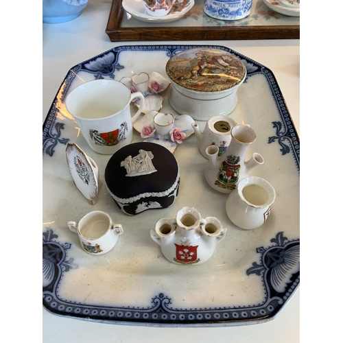 258 - Burleighware blue and white meat plate and miscellaneous china including crested ware