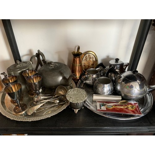 227 - Shelf of miscellaneous metalware including 2 old pewter teapots and 4-piece Adams tea service etc (q...