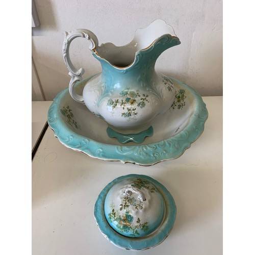 249 - Victorian flower pattern jug, bowl and soap dish