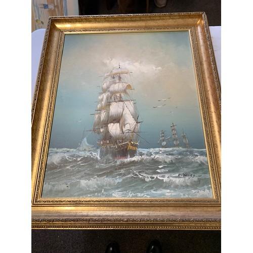 311 - 3 Framed Ship Oil Paintings :- 'Sailing Ships at Anchor', P Monomy, 25