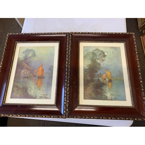 313 - Pr 'Canal' prints in fancy frames, 21