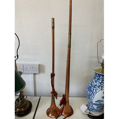296 - 2 copper hunting horns