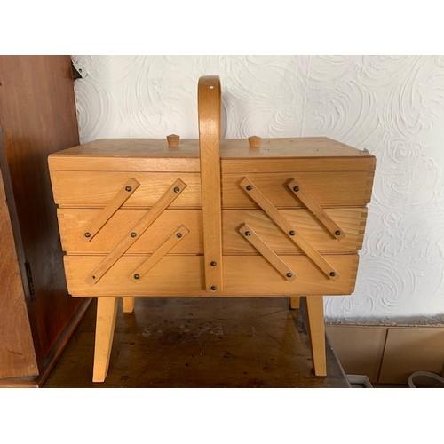 454 - Light oak sewing box