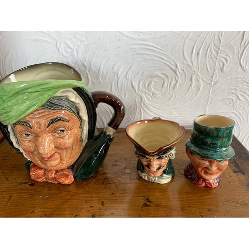 273 - 2 Royal Doulton character jugs and Staffordshire character jug (largest 7