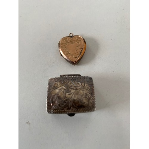 144A - 9ct rose gold locket and white metal snuff box, locket 2.49 gms and snuff box 5.09 gms