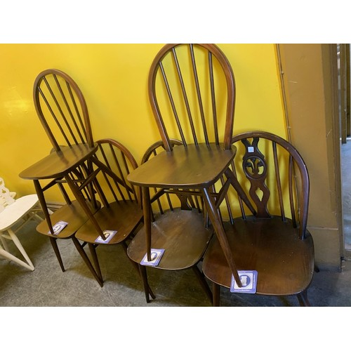 493 - 6 similar oak retro dining chairs, all stamped 1960 (4 + 2)