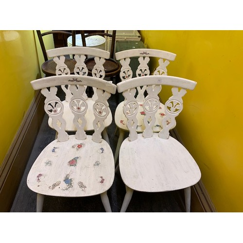 492 - Set of 4 painted white retro dining chairs