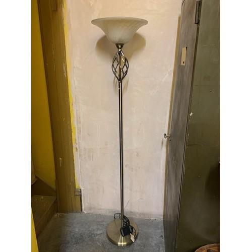 482 - Modern bronze effect standard lamp with opaque glass shade