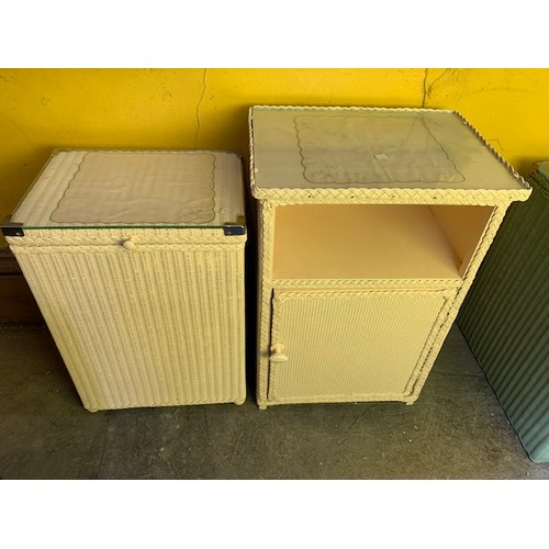 488 - Painted white glass top wicker retro linen basket and bedside cupboard (2)