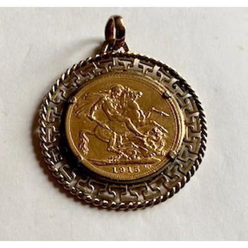 168 - George V 1915 gold sovereign EF, set in 9ct gold mount, total weight 11.16gms