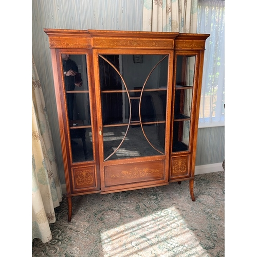 498 - Late Victorian heavily inlaid breakfront display cabinet with central astral glazed door and 3 displ...