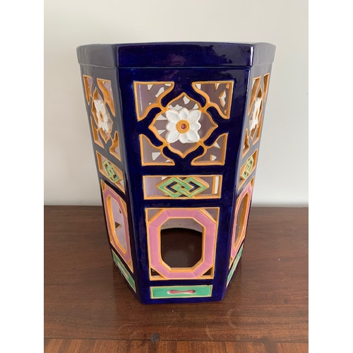 458 - Minton '1364' pentagon shaped majolica garden seat, blue glazed top and pierced decorated sides 12