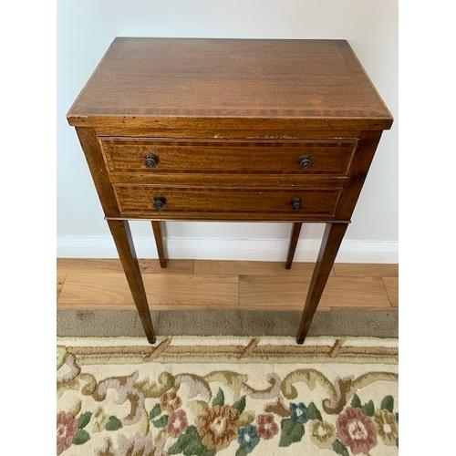 504 - Edwardian inlaid mahogany 2 drawer side table 19