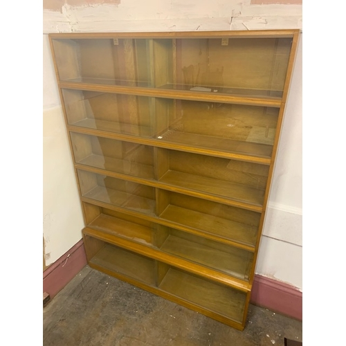 517 - Retro Simplex 6 tier medium oak 6' glazed stacking bookcase, each tier of 2 glazed door double compa...