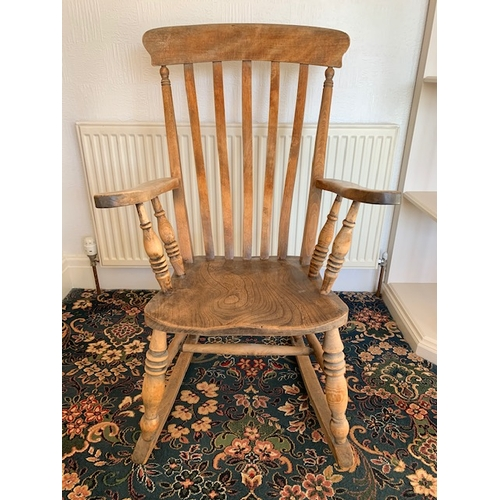 529 - Victorian lathe back rocking chair, ht 42