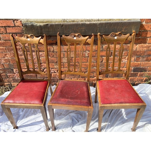527 - 3 Edwardian carved oak dining chairs