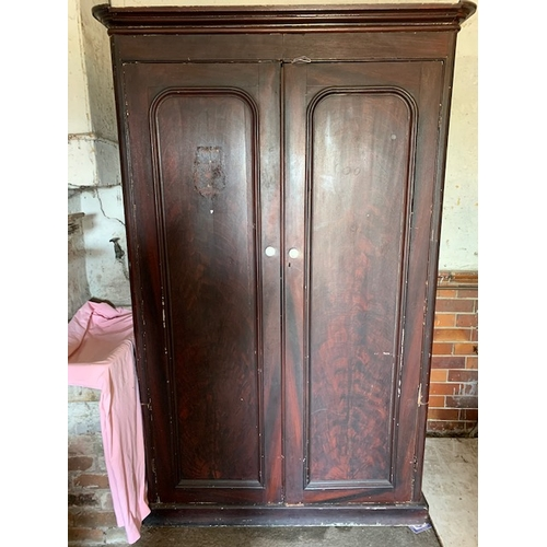 540 - Large pine cupboard with 2 fitted drawers, 84