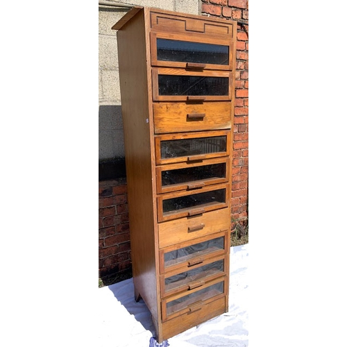 552 - Mid Century tall cabinet/chest with 10 glazed and solid drawers, 80