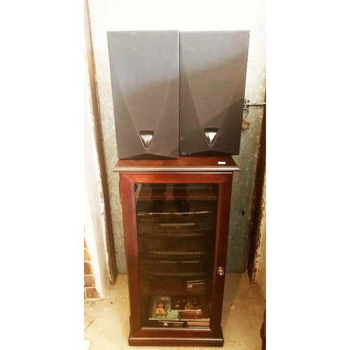 571 - Mahogany stereo unit containing Kenwood - stereo automatic return turntable system P29; stereo compa...